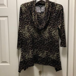 Notations Animal Print Cowl Neck Tunic Top